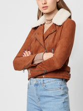 Load image into Gallery viewer, Faux Suede Shearling Biker Jacket