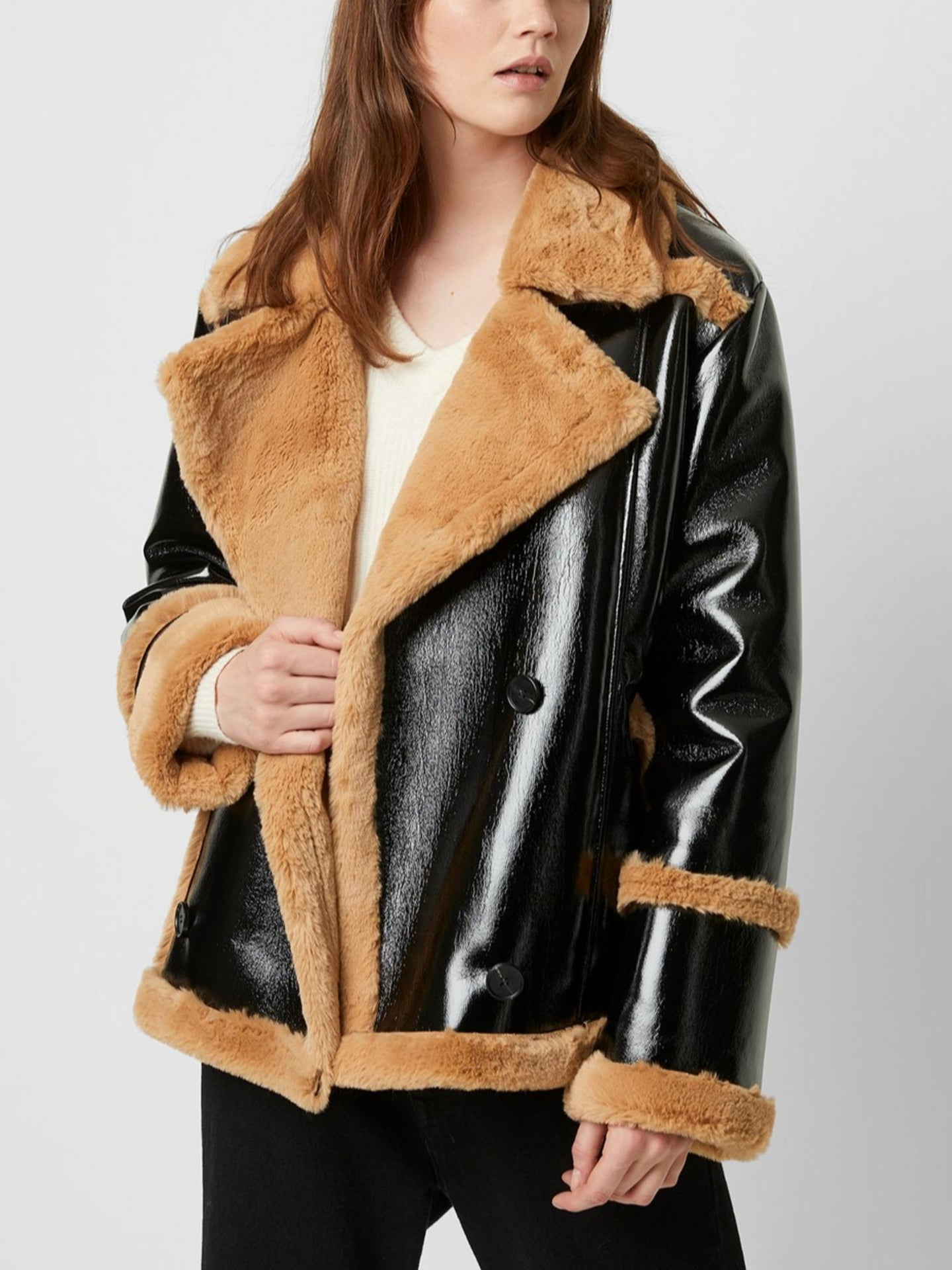 Faux Shearling Oversized Coat