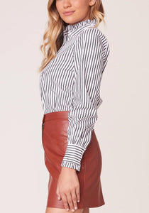 Long Sleeve Ruffle Button-Up Top