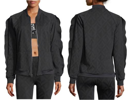 Long Ruffled Sleeves Front Zip Geometric Patterned Bomber Jacket