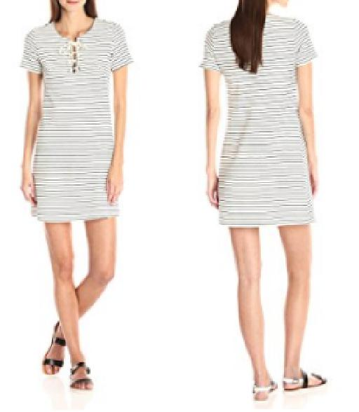Short Sleeve Lace-Up Striped Dress