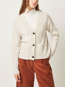 Wool Blend Button-Up Cardigan