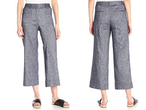 Mid-Rise Wide Leg Cropped Linen Pants