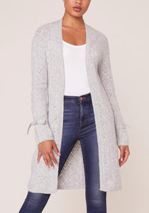 Long Tie Sleeve Diamond Stitch Open Front Cardigan