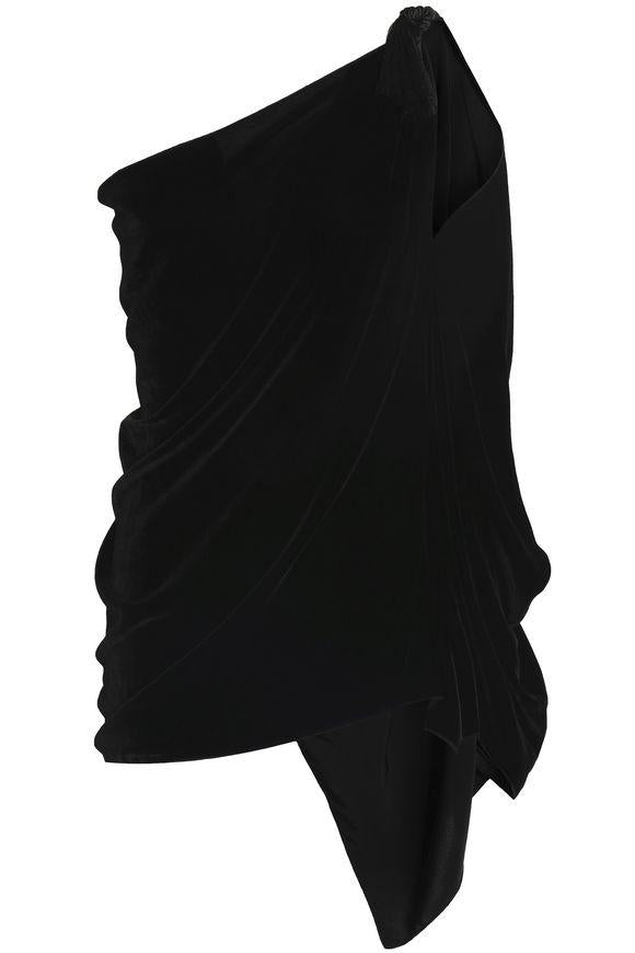 Off Shoulder Draped Velvet Top