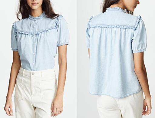 Short Sleeve Mock Neck Ruffle-Detail Chambray Button-Up Shirt