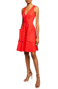 Sleeveless V-Neck Button-Front A-Line Dress