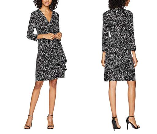 3/4 Sleeve V-Neck Self-Tie Printed Wrap Dress
