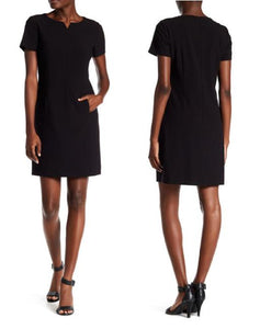 Short-Sleeve Split Neck Shift Dress w/ Pocket