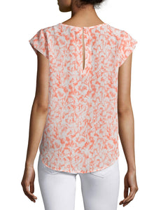 Cap Sleeve Scoop Neck Printed Blouse