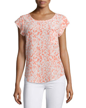 Load image into Gallery viewer, Cap Sleeve Scoop Neck Printed Blouse
