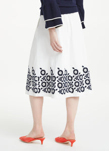 Embroidred A-Line Midi Skirt