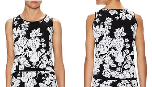 Sleeveless Jacquard Floral Embroidered Shell