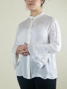 Ruffled Sleeve Button Up