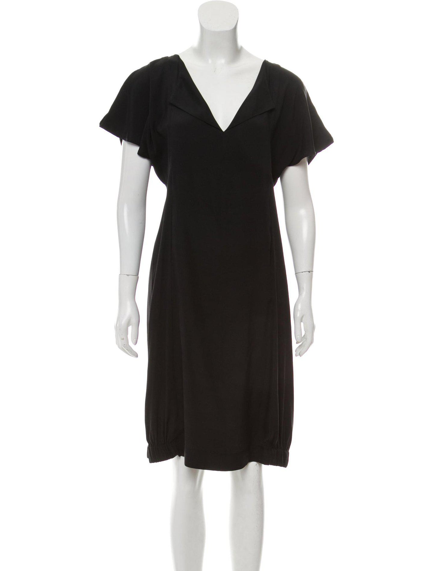 Short Sleeve Cold Shoulder Silk Dress