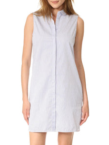 Sleeveless Collared Striped Relaxed Shirt Dress