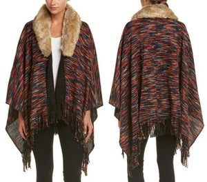 Open Sleeve Faux Fur Collar Textured Poncho
