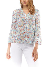 Load image into Gallery viewer, 3/4 Sleeve Printed Splitneck Blouse