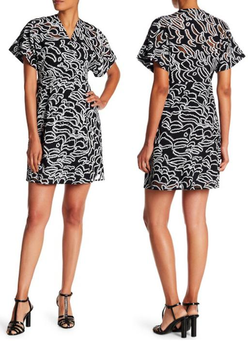 Short Sleeve V-Neck Abstract Patterned Wrap Dress