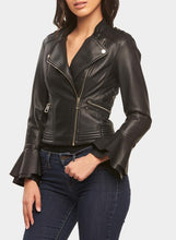 Load image into Gallery viewer, Ruffled Cuff Biker Jacket