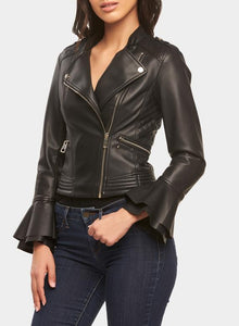 Ruffled Cuff Biker Jacket