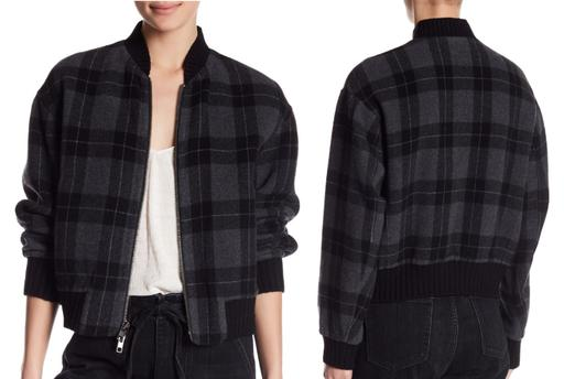 Long Sleeve Plaid Wool-Blend Bomber