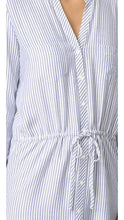 Load image into Gallery viewer, Long Sleeve Pinstripe Drawstring Shirtdress