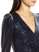 Load image into Gallery viewer, Long Sleeve Sequined Velvet Mini Dress