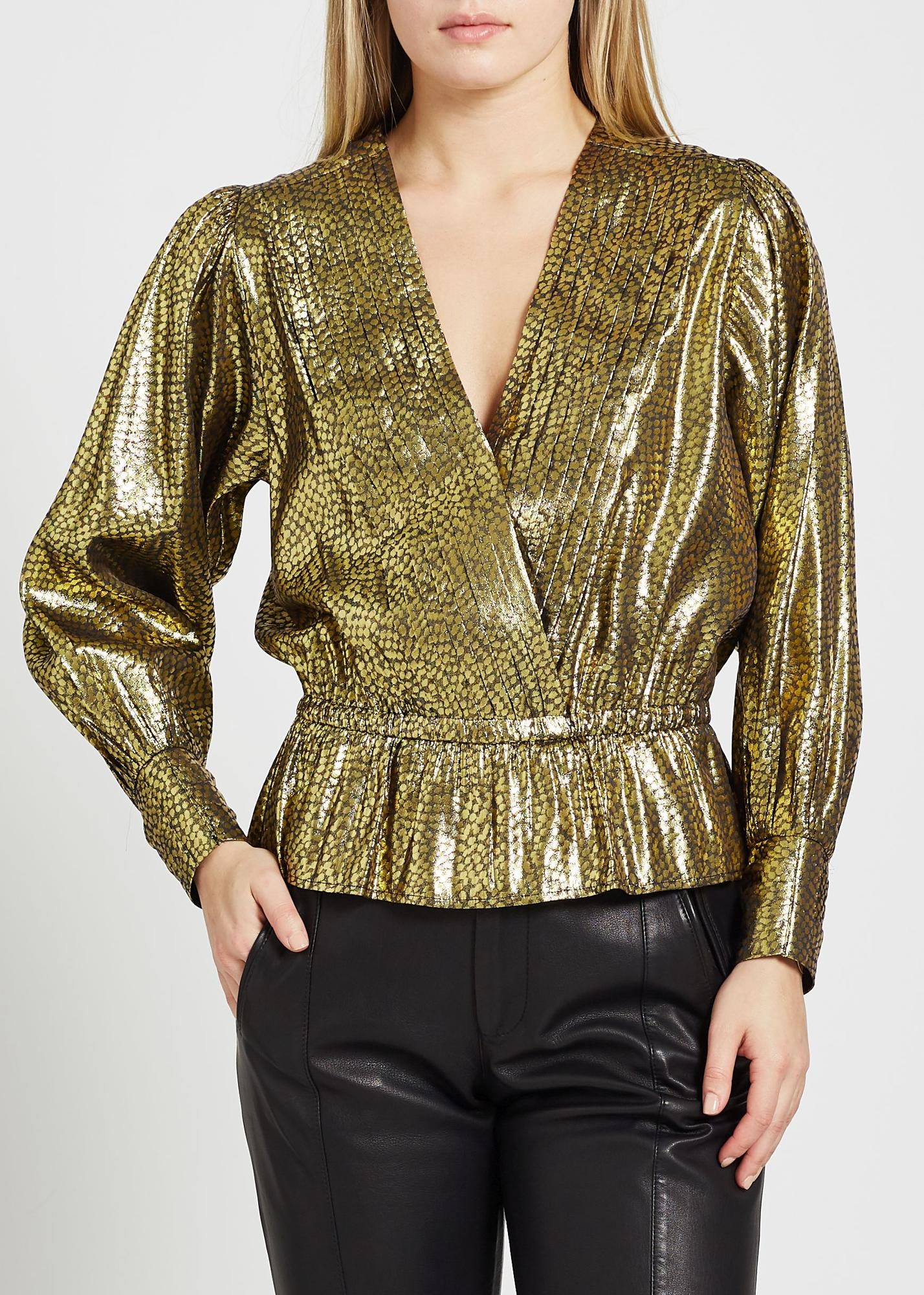 V-neck Metallic Blouse