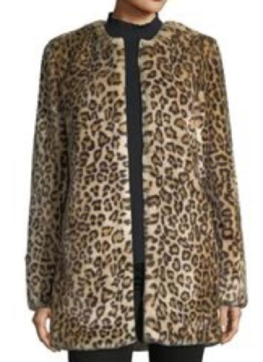 Collarless Faux Leopard Print Jacket