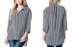 Maternity 3/4 Sleeve Collared Striped Hi-Lo Blouse