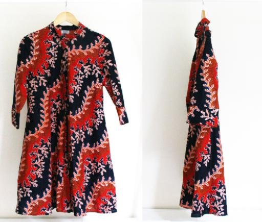 3/4 Sleeve Printed Button-Front Kitenge Dress