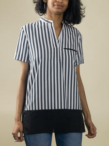 Short Sleeve Splitneck Silk-Blend Blouse