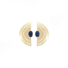 Load image into Gallery viewer, Vintage Half Moon Earrings - Lapis