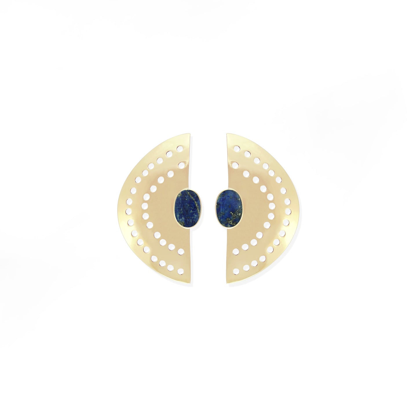 Vintage Half Moon Earrings - Lapis