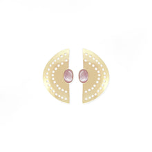 Load image into Gallery viewer, Vintage Half Moon Earrings -  Pink Shell