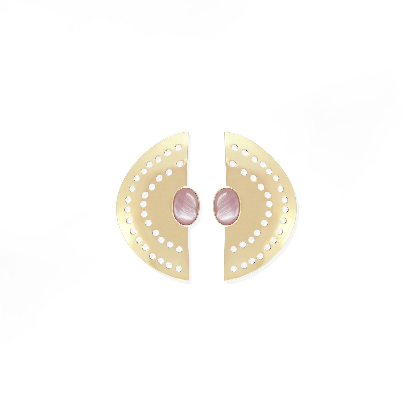 Vintage Half Moon Earrings -  Pink Shell