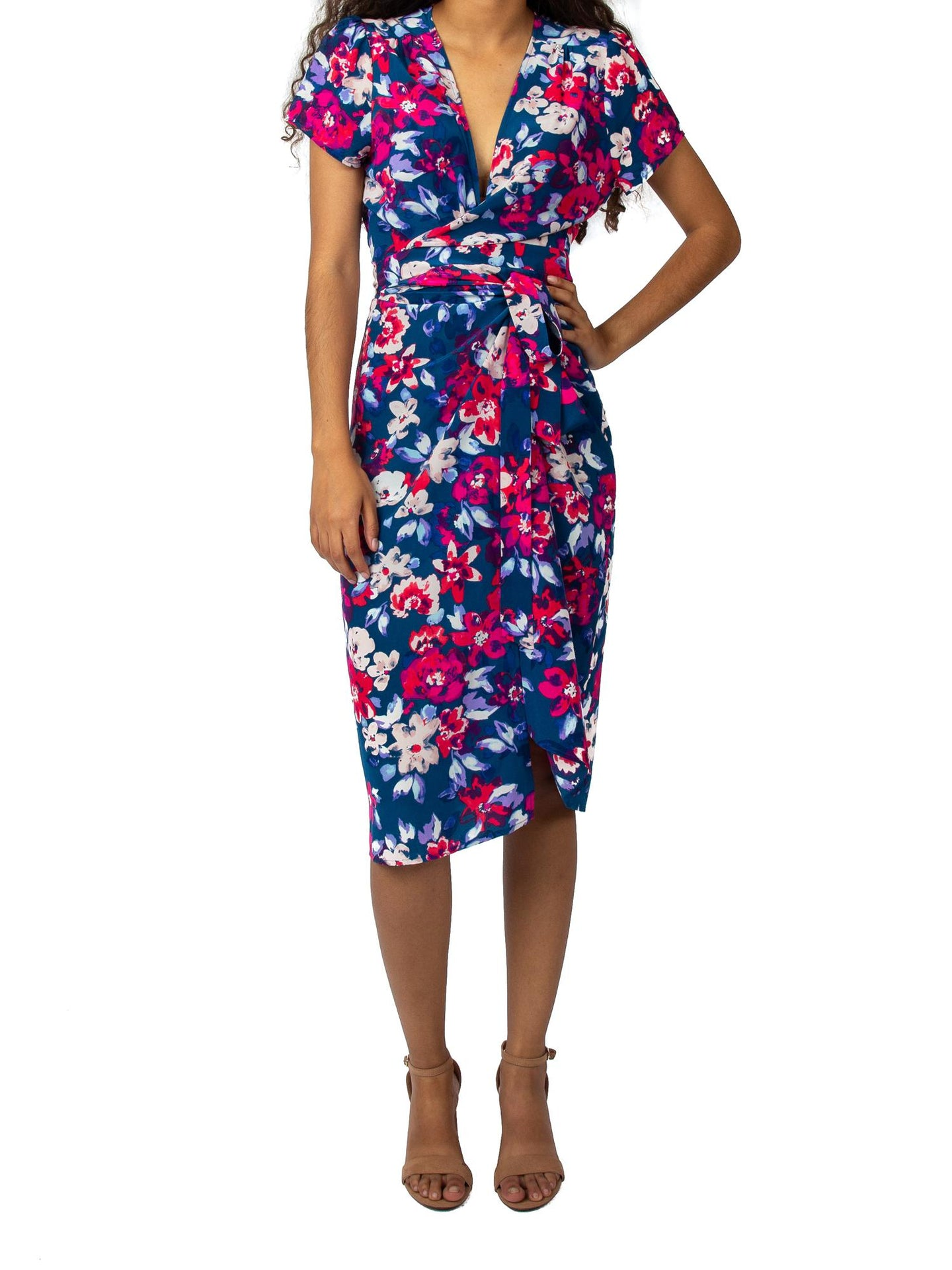 Short Sleeve Floral Midi Wrap Dress