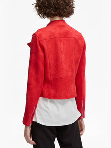 High-Neck Suedette Biker Jacket