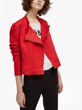 Load image into Gallery viewer, High-Neck Suedette Biker Jacket