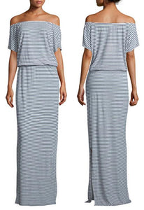 Short Sleeve Off the Shoulder Cinched Waist Striped Maxi Dress