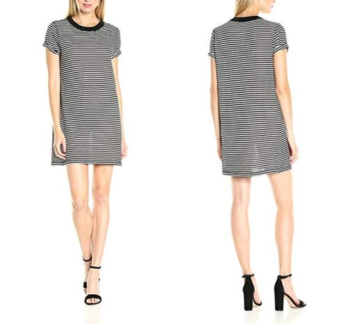 Short Sleeve Crew Neck Striped Distressed Tee Dress