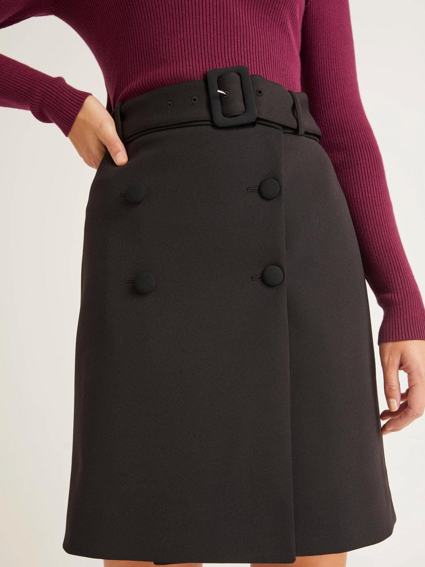 Belted Four-Button A-Line Skirt