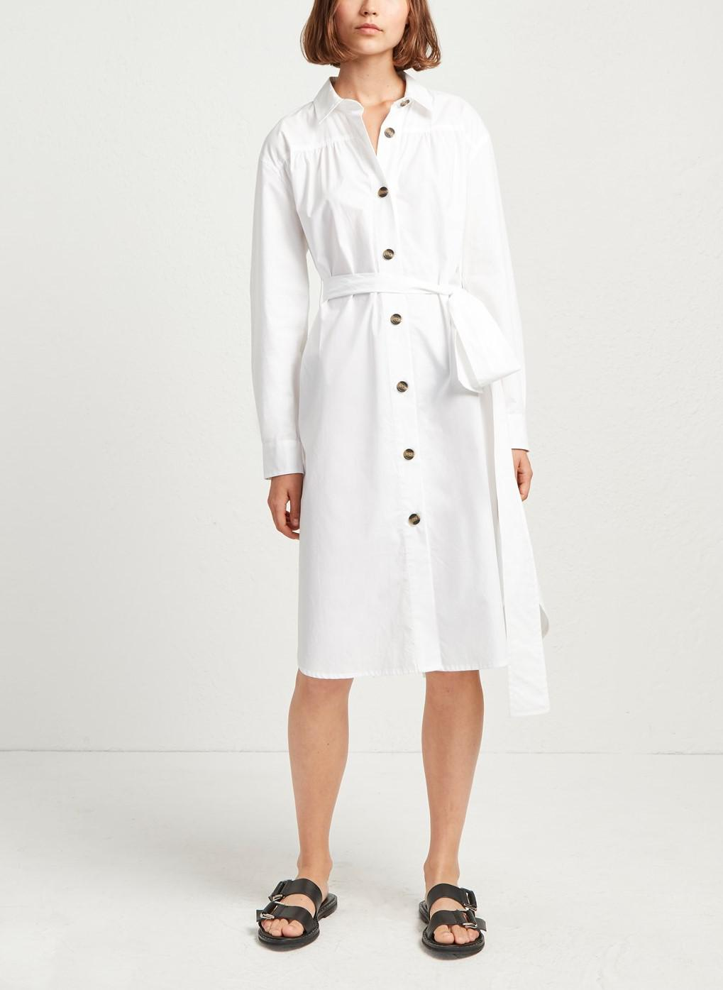 Long Sleeve Collared Button-Front Belted Dress