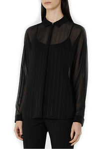 Sheer Long Sleeve Collared Button-Up Blouse