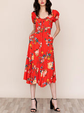 Load image into Gallery viewer, Short Sleeve Button Front Midi Dress