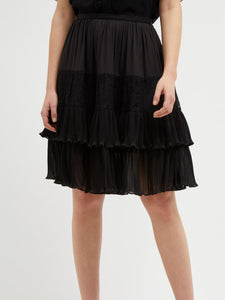 High-Rise Tiered Lace Panel Skirt