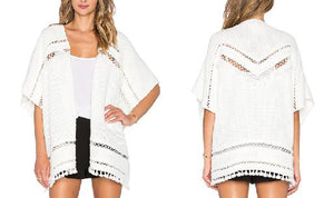 Short Sleeve Open-Front Knit Poncho
