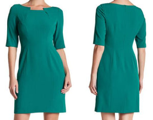 Short Sleeve Notched Neck Sheath Dress