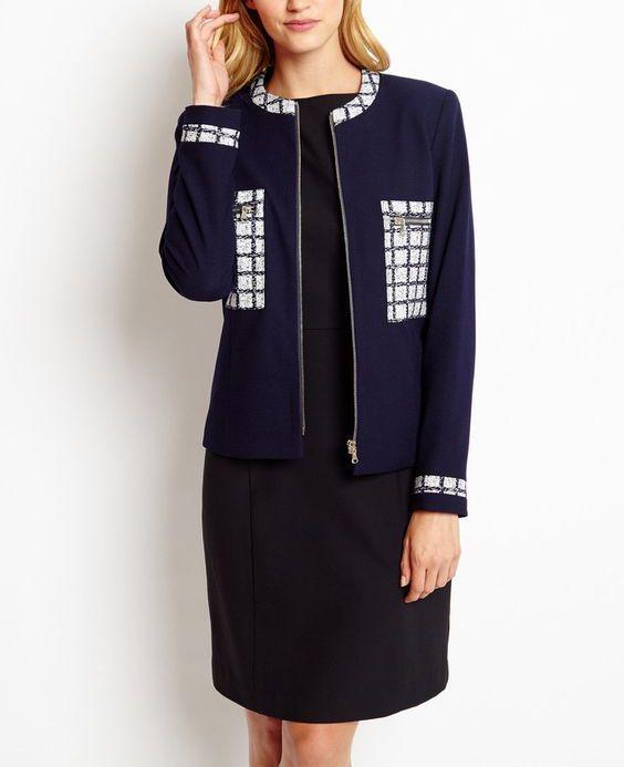 Long Sleeve Tweed Blazer Collarless Blazer